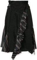 Sacai asymmetric pleated skirt - women - Cotton - 1