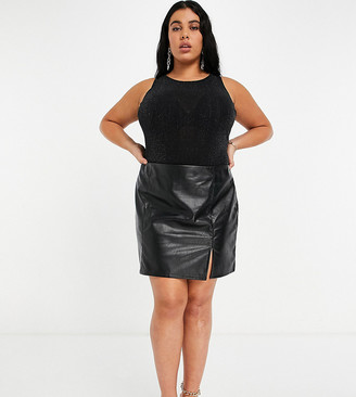 NaaNaa Plus faux leather skirt with side split in black