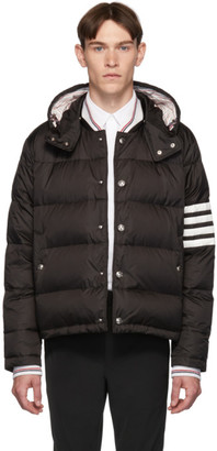 Thom Browne Black Down 4-Bar Snap Front Bomber Jacket
