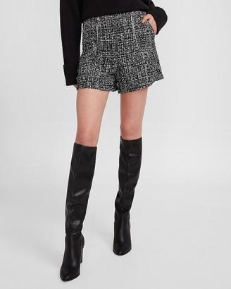 Express Super High Waisted Double Zipper Tweed Shorts