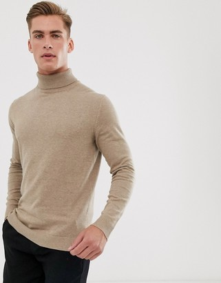 Selected cotton knitted roll neck in sand-Tan