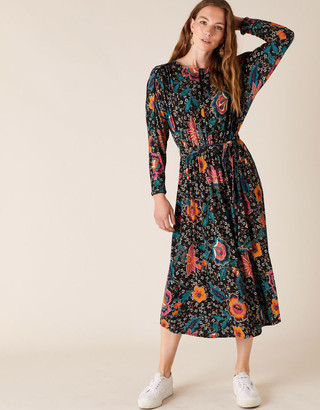 Monsoon Velvet Trim Floral Jersey Midi Dress Green