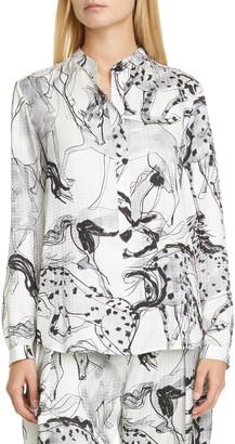 Stella McCartney Horse Print Silk Tunic Shirt