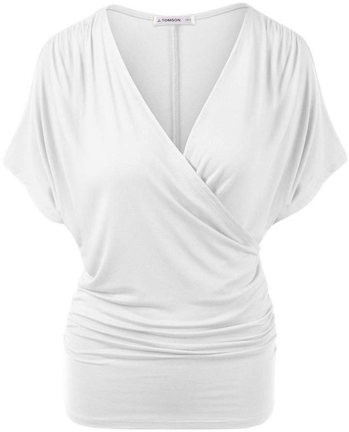 Zenicham Women V-neck Smocked Empire Waist Tank Batwing Top Breastfeeding Top