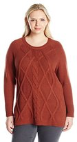 Leo & Nicole Women's Plus Size Long Sleeve Cable Front Tunic Sweater