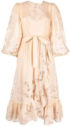 Zimmermann Belted Lace-Panelled Midi Dress
