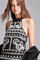 Forever 21 Twelve Embroidered Crop Top