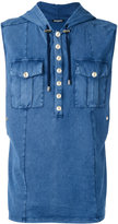 Balmain sleeveless denim effect hoodie - men - Cotton - S