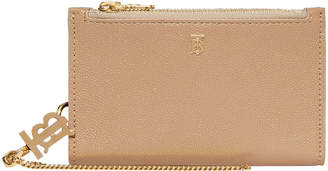 Burberry Leslie TB Hardware Grainy Wallet, Archive Beige