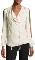 Haute Hippie Classic Silk Cowl Blouse, Antique White