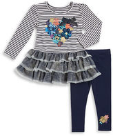 Flapdoodles Girls 2-6x Tulle Floral Dress and Leggings Set