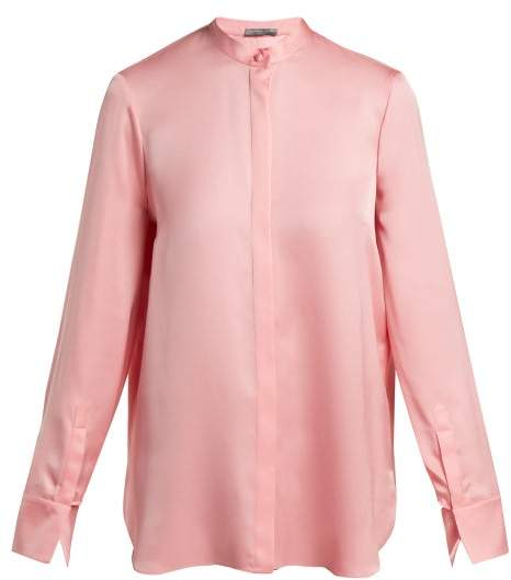 Alexander McQueen Silk Satin Long Sleeve Blouse - Womens - Pink