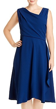 Adrianna Papell Plus Sleeveless Asymmetric Neck Dress