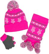 Pink Platinum Pink Hearts Three-Piece Beanie Set