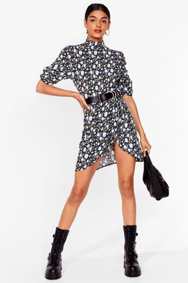 Nasty Gal Womens Seed You There Floral Mini Dress - Blue - 6, Blue
