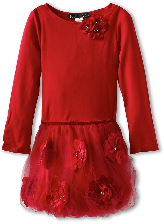 Biscotti Pocketful Of Posies Longsleeve Dress (Little Kids) (Red) - Apparel