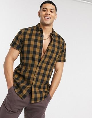Asos DESIGN regular short sleeve shirt in brushed mustard gingham check