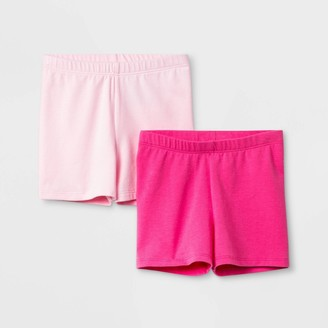 Cat & Jack Toddler Girls' 2pk Tumble Shorts - Cat & JackTM Light /Dark