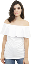Susana Monaco Ruffle Off the Shoulder Top in Sugar