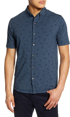 Linksoul Anza Floral Print Short Sleeve Knit Button-Down Shirt
