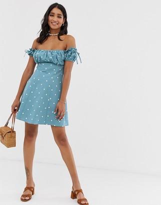 Asos Design DESIGN off shoulder mini sundress with ruched bust in polka dot-Multi