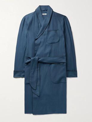 Paul Stuart Piped Linen Robe - Men - Blue