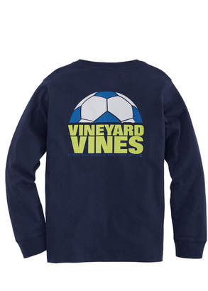Vineyard Vines Boys' Soccer Ball Cutoff Long-Sleeve Pocket T-Shirt
