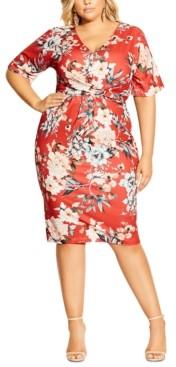 City Chic Trendy Plus Size Printed Twist-Front Sheath Dress