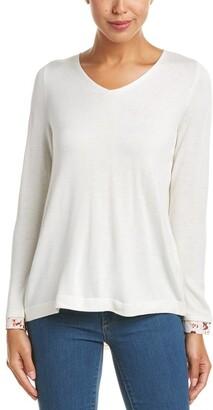 NYDJ Women's Petite Size Mixed Media V-Neck Sweater with Overlapped Back