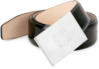 Bruno Magli Crest Engraved Patent Leather Belt