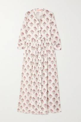 Brock Collection Floral-print Cotton And Silk-blend Maxi Dress - White