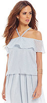 Gianni Bini Ulla Halter Neck Cold-Shoulder Basketweave Popover Blouse