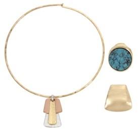 "Robert Lee Morris Soho Geometric Pendant Collar Necklace Set, 16.5"""