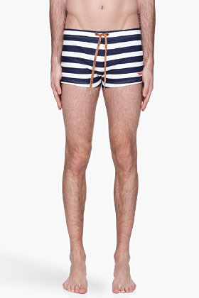 Diesel Navy and ivory striped BMBR Aloha Brief swim trunks
