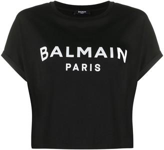 Balmain cropped logo print T-shirt