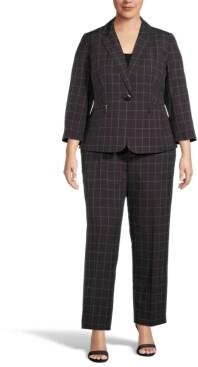 Le Suit Plus Size Diamond Jacquard Pantsuit