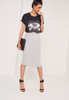 Missguided Ribbed Popper Through Maxi Skirt Grey Marl