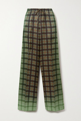 Dries Van Noten Checked Satin-twill Wide-leg Pants - Green