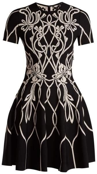 Alexander McQueen Art Nouveau Intarsia Short Sleeved Dress - Womens - Black Pink