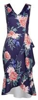 Dorothy Perkins Womens Luxe Navy Floral Print Drape Dress