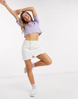 Monki Elina short sleeve cropped boxy t-shirt in lilac