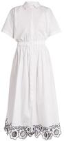 Christopher Kane Embroidered-hem cotton-poplin dress
