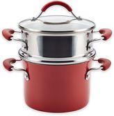 Rachael Ray Rachael RayTM Cucina Hard Porcelain Enamel Nonstick 3 qt. Multi-Pot Steamer Set in Cranberry Red