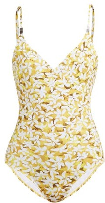 Marios Schwab On The Island By Abstract Floral-print Scooped-back Swimsuit - Womens - Yellow