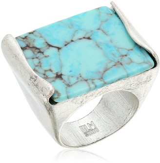 "Robert Lee Morris Mosaic"" Semiprecious Turquoise Stone Ring Size 8.5"