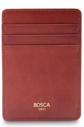 Bosca Colorblock Leather Front Pocket Money Clip Wallet