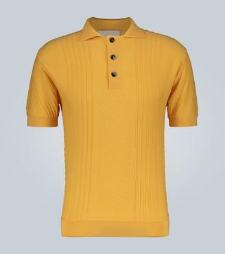King And Tuckfield Textured knit merino polo shirt
