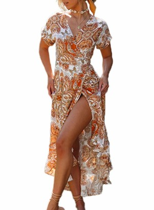FOBEXISS Women Casual Dress Floral Dress Short Sleeve V-Neck Front Slit Bohemian Beach Maxi Dress Summer Orange