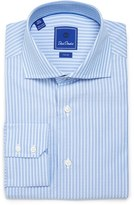David Donahue Men's Trim Fit Stripe Dress Shirt