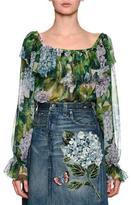 Dolce & Gabbana Hydrangea Off-the-Shoulder Chiffon Blouse, Green